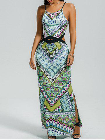 Colorful Geometrical Two Side Slit Maxi Dress - Colormix - M