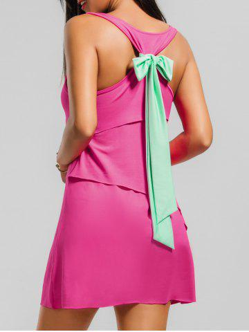 New Back Bowknot Layered Tank Dress