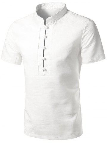 Unique Cotton Linen Stand Collar Chinese Style Shirt - 2XL WHITE Mobile