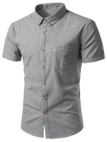 Sale Pocket Button Down Cotton Linen Stripe Shirt - 42 DEEP GRAY Mobile