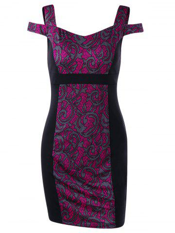 Tribal Print Cold Shoulder Mini Bodycon Dress - Rose Red - M