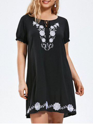 Fashion Flower Embroidery Tie Front Plus Size Dress BLACK 3XL
