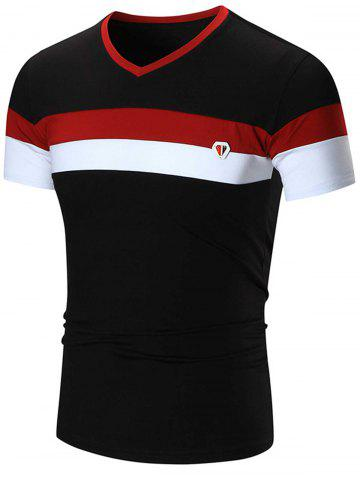 Outfit Metal Logo V Neck Striped Tee BLACK 3XL