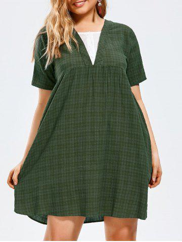 Half Button Plus Size Plaid Smock Dress - Pale Green - 5xl