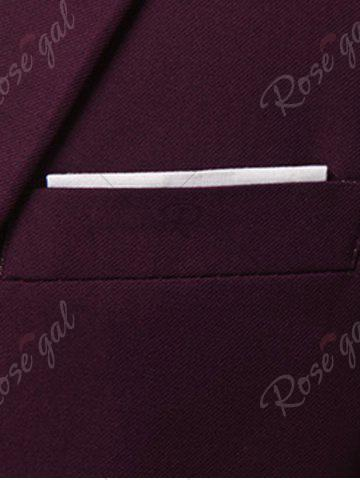 Shops Slim Fit Lapel One Button Edging Blazer - 4XL WINE RED Mobile