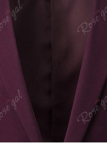 Trendy Slim Fit Lapel One Button Edging Blazer - 4XL WINE RED Mobile