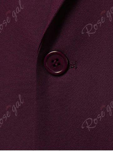 Sale Slim Fit Lapel One Button Edging Blazer - 4XL WINE RED Mobile
