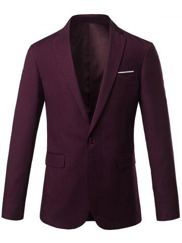 Discount Slim Fit Lapel One Button Edging Blazer - 4XL WINE RED Mobile