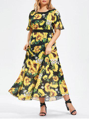 Plus Size Short Sleeve Floral Chiffon Maxi Dress - Yellow - 6xl