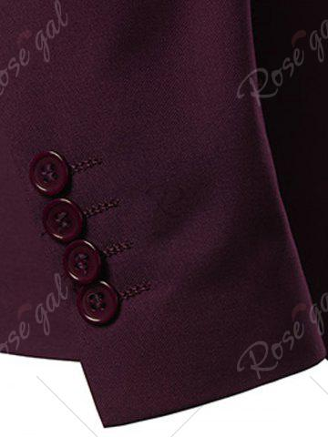 Discount Slim Fit Lapel Single Breasted Casual Blazer - M WINE RED Mobile
