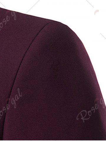 Fashion Slim Fit Lapel Single Breasted Casual Blazer - M WINE RED Mobile