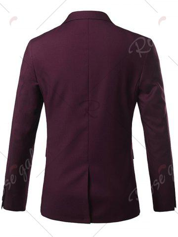 Hot Slim Fit Lapel Single Breasted Casual Blazer - M WINE RED Mobile
