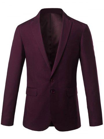 Outfits Slim Fit Lapel Single Breasted Casual Blazer - M WINE RED Mobile