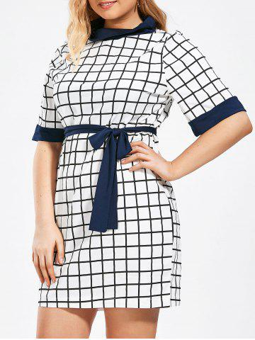 Checked Print Plus Size Pencil Dress with Pockets - White - 6xl