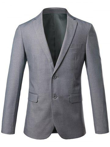 Best Slim Fit Lapel Single Breasted Casual Blazer - 4XL GRAY Mobile