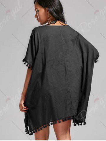 Best Oversized Batwing Sleeve Swing Tunic Cover Up Dress - ONE SIZE BLACK Mobile