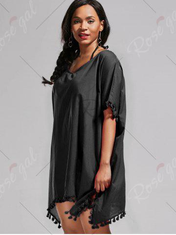 Shop Oversized Batwing Sleeve Swing Tunic Cover Up Dress - ONE SIZE BLACK Mobile