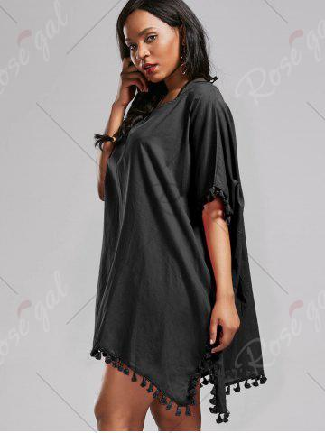 Unique Oversized Batwing Sleeve Swing Tunic Cover Up Dress - ONE SIZE BLACK Mobile