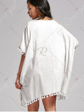 Chic Oversized Batwing Sleeve Swing Tunic Cover Up Dress - ONE SIZE WHITE Mobile