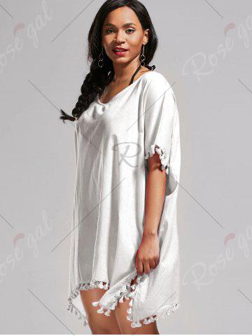 Cheap Oversized Batwing Sleeve Swing Tunic Cover Up Dress - ONE SIZE WHITE Mobile
