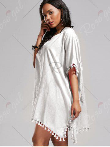 Outfit Oversized Batwing Sleeve Swing Tunic Cover Up Dress - ONE SIZE WHITE Mobile