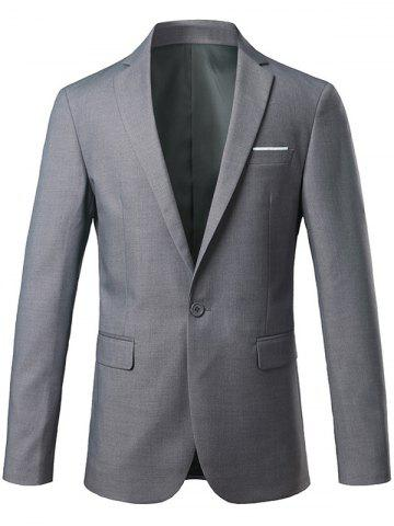 Trendy Slim Fit Lapel One Button Edging Blazer - M GRAY Mobile