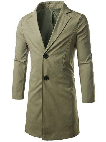 Shop Single Breasted Turndown Collar Longline Coat ARMY GREEN 5XL