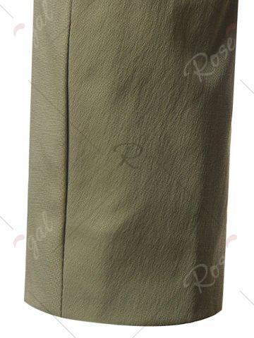 Discount Single Breasted Turndown Collar Longline Coat - 5XL ARMY GREEN Mobile