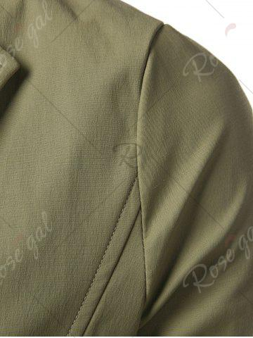 Online Single Breasted Turndown Collar Longline Coat - 5XL ARMY GREEN Mobile