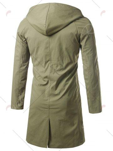 Latest Single Breasted Hooded Longline Coat - XL ARMY GREEN Mobile