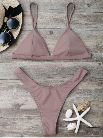 Outfits High Cut Thong Bikini Set - M NUDE PINK Mobile