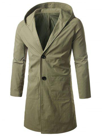 Single Breasted Hooded Longline Coat - Army Green - 4xl