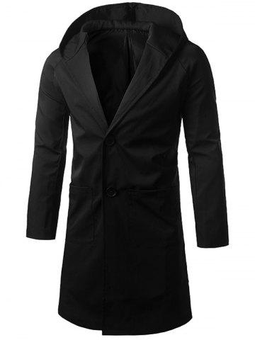 Online Single Breasted Hooded Longline Coat BLACK 2XL