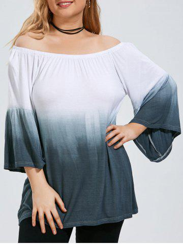 Store Ombre Plus Size Off The Shoulder Top with Flare Sleeve GRAY 2XL