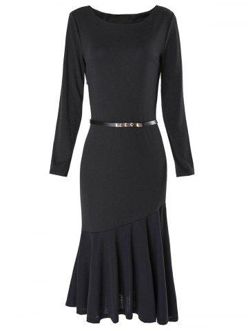 Fancy Boat Neck Long Sleeve Bodycon Mermaid Dress BLACK L