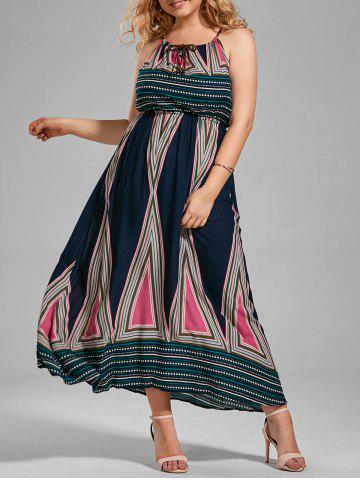 Online Plus Size Printed Maxi Slip A Line Flowy Dress MULTI 2XL
