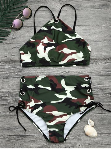 Cheap Camouflage Print Lace Up Crop Top Bikini ARMY GREEN XL
