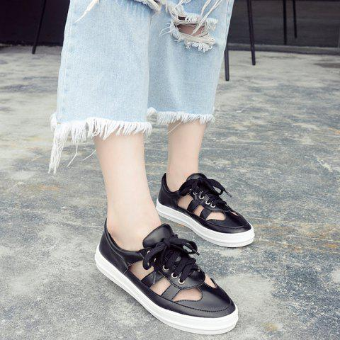 Chic Faux Leather Hollow Out Athletic Shoes