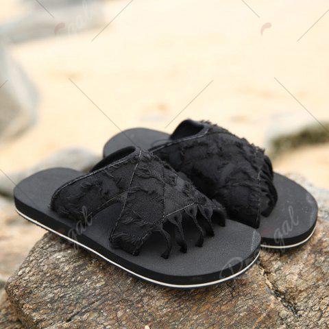 Chic Synthetic Flip Flop Slippers - 41 BLACK Mobile