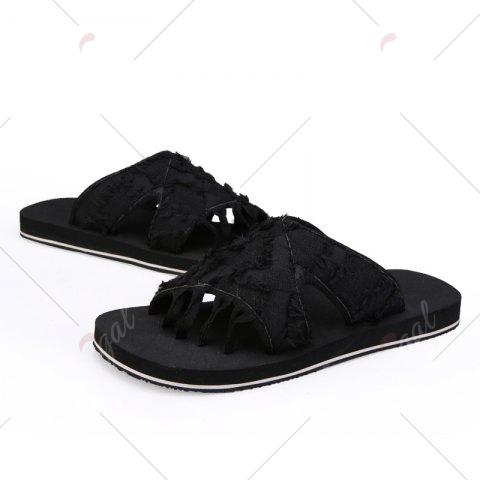 Fashion Synthetic Flip Flop Slippers - 42 BLACK Mobile