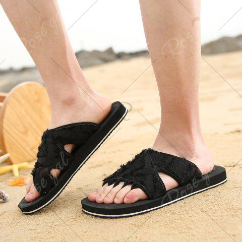 Trendy Synthetic Flip Flop Slippers - 44 BLACK Mobile