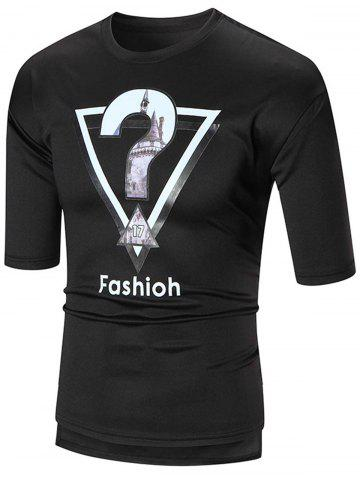 Hot Half Sleeve High Low Graphic Tee BLACK 2XL