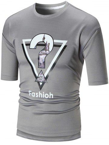 Buy Half Sleeve High Low Graphic Tee GRAY 2XL