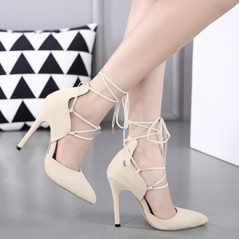 Discount Stiletto Heel Lace Up Pointed Toe Pumps OFF-WHITE 39