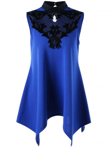 Sale Stand Collar Sleeveless Patched Top BLUE L