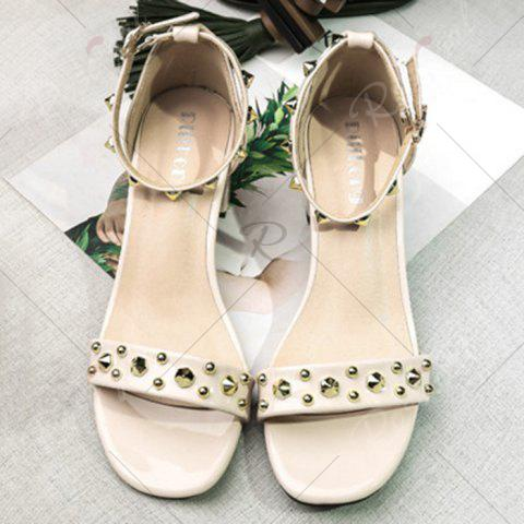 Sale Chunky Heel Stud Ankle Strap Sandals - 39 APRICOT Mobile