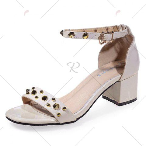 Chic Chunky Heel Stud Ankle Strap Sandals - 39 APRICOT Mobile