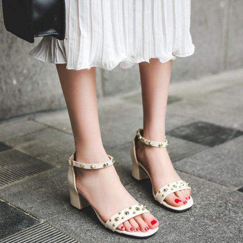 New Chunky Heel Stud Ankle Strap Sandals - 39 APRICOT Mobile