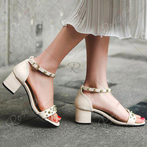 Trendy Chunky Heel Stud Ankle Strap Sandals - 39 APRICOT Mobile