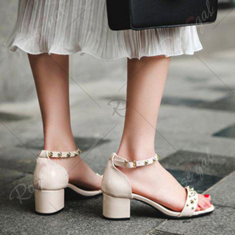 Cheap Chunky Heel Stud Ankle Strap Sandals - 39 APRICOT Mobile